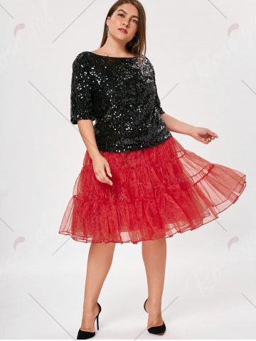 Affordable Plus Size Cosplay Light Up Party Skirt - RED 2XL Mobile