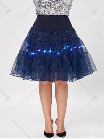 Affordable Plus Size Cosplay Light Up Party Skirt - 6XL CERULEAN Mobile