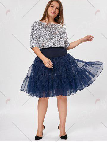 Trendy Plus Size Cosplay Light Up Party Skirt - 6XL CERULEAN Mobile