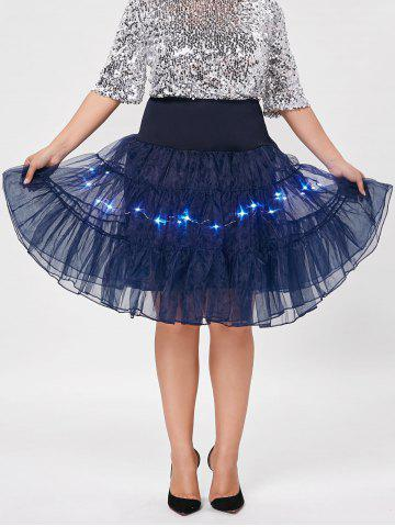 Fancy Plus Size Cosplay Light Up Party Skirt - CERULEAN 5XL Mobile