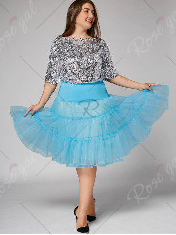 Affordable Plus Size Cosplay Light Up Party Skirt - LIGHT BLUE 5XL Mobile