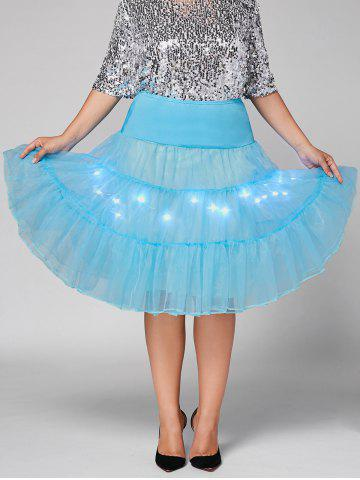 Affordable Plus Size Cosplay Light Up Party Skirt - LIGHT BLUE 6XL Mobile