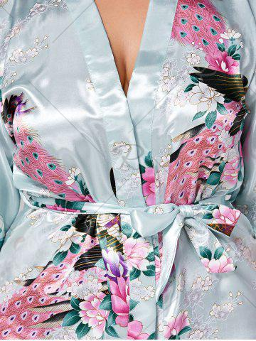 Shops Longline Satin Plus Size Pajama Kimono - L CLOUDY Mobile