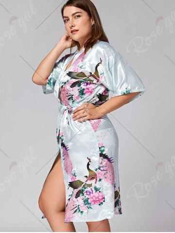 Latest Longline Satin Plus Size Pajama Kimono - L CLOUDY Mobile