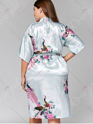 Hot Longline Satin Plus Size Pajama Kimono - L CLOUDY Mobile