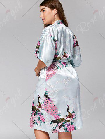 Affordable Longline Satin Plus Size Pajama Kimono - L CLOUDY Mobile