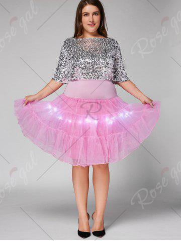 Best Plus Size Cosplay Light Up Party Skirt - LIGHT PINK 5XL Mobile