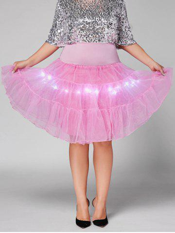 Plus Size Cosplay Light Up Party Skirt - Light Pink - 4xl