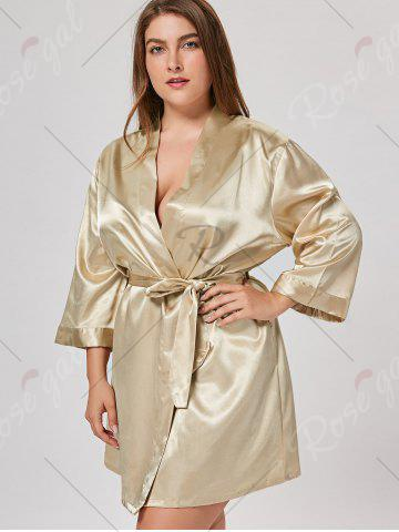 New Satin Plus Size Sleepwear Kimono - ONE SIZE CHAMPAGNE Mobile