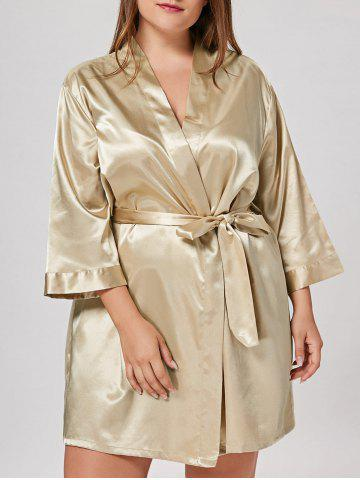 Shops Satin Plus Size Sleepwear Kimono - ONE SIZE CHAMPAGNE Mobile