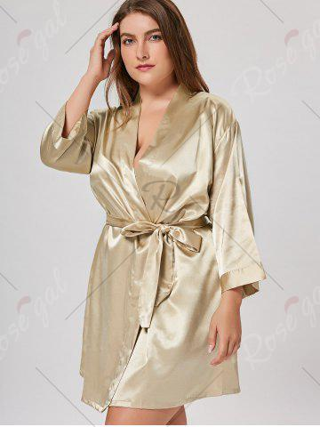 Trendy Satin Plus Size Sleepwear Kimono - ONE SIZE CHAMPAGNE Mobile