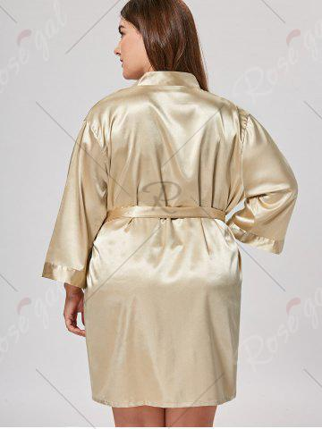 Buy Satin Plus Size Sleepwear Kimono - ONE SIZE CHAMPAGNE Mobile