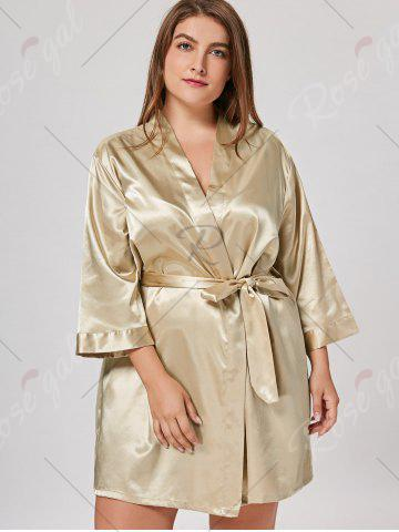 Affordable Satin Plus Size Sleepwear Kimono - ONE SIZE CHAMPAGNE Mobile
