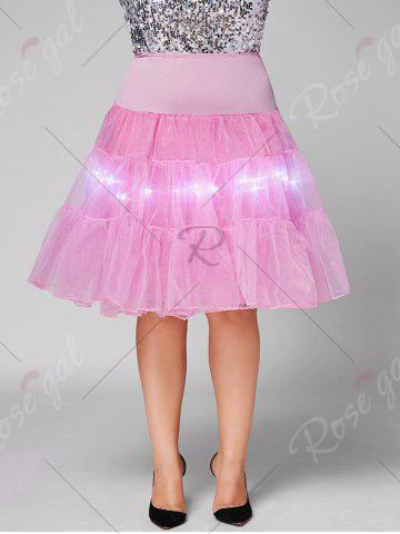 Trendy Plus Size Cosplay Light Up Party Skirt - LIGHT PINK 3XL Mobile