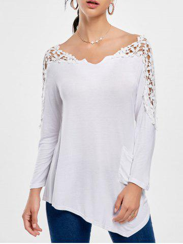 Buy Crochet Insert Long Sleeve Asymmetric Tunic Top WHITE S