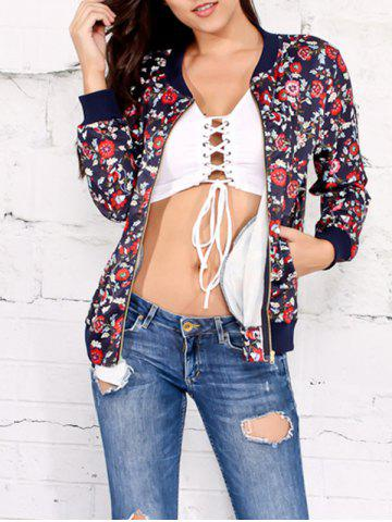 Hot Zipper Up Floral Print Jacket CADETBLUE M