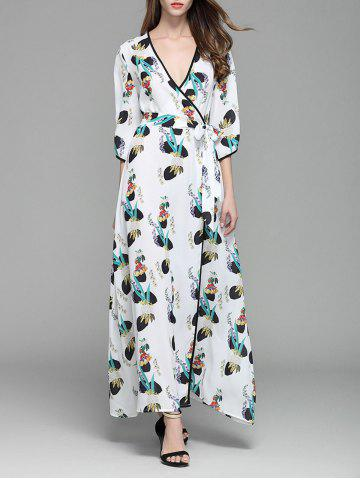 Trendy Plunging Neckline Print Long Wrap Dress WHITE S
