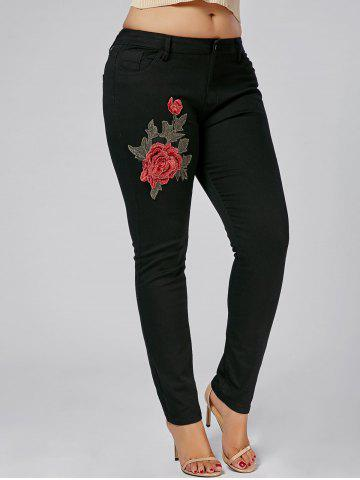 Cheap Plus Size Embroidered Tight Jeans BLACK 2XL