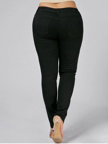 Affordable Plus Size Embroidered Tight Jeans - 3XL BLACK Mobile