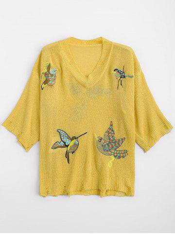 Ripped V Neck Birds Embroidered Sweater - Yellow - One Size