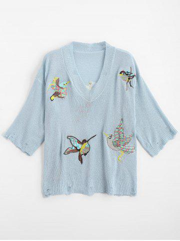 Ripped V Neck Birds Embroidered Sweater - Azure - One Size