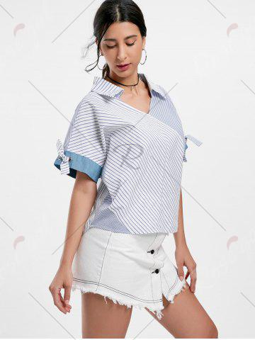Outfits Oversized Striped Top - ONE SIZE BLUE Mobile