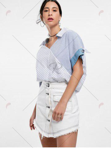 Online Oversized Striped Top - ONE SIZE BLUE Mobile