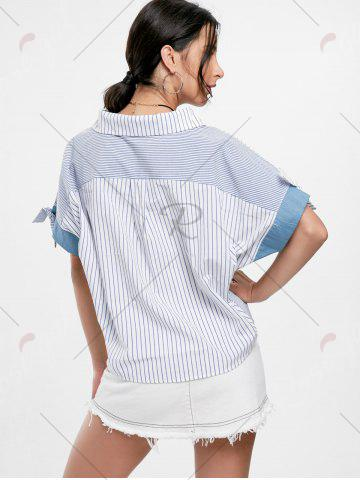 Hot Oversized Striped Top - ONE SIZE BLUE Mobile