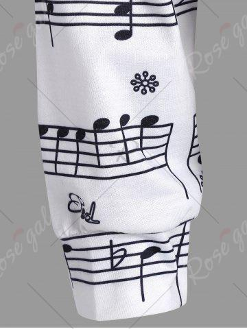 Unique Musical Notes Printed Long Sleeves Sweatshirt - S WHITE Mobile