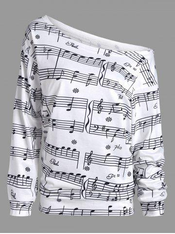 New Musical Notes Printed Long Sleeves Sweatshirt WHITE S
