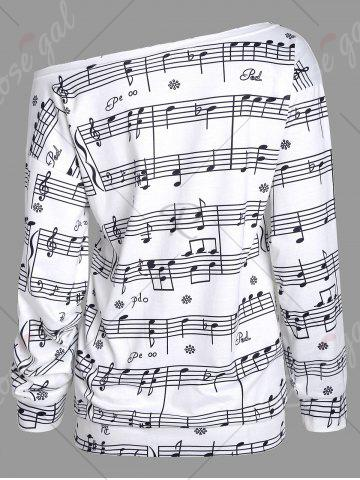 Trendy Musical Notes Printed Long Sleeves Sweatshirt - S WHITE Mobile