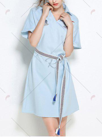 Outfit Sequins Embroidery Batwing Sleeve Belted Shirt Dress - S LIGHT BLUE Mobile