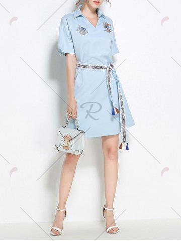 Latest Sequins Embroidery Batwing Sleeve Belted Shirt Dress - S LIGHT BLUE Mobile