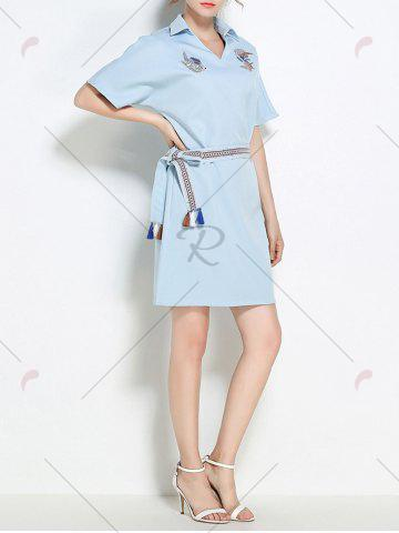 Shop Sequins Embroidery Batwing Sleeve Belted Shirt Dress - S LIGHT BLUE Mobile