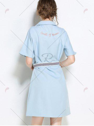 Online Sequins Embroidery Batwing Sleeve Belted Shirt Dress - S LIGHT BLUE Mobile