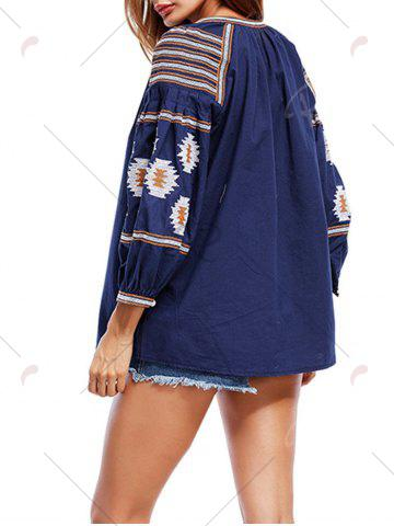 Affordable Tassels Floral Embroidered Tunic Blouse - S CADETBLUE Mobile