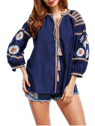 Tassels Floral Embroidered Tunic Blouse - Cadetblue - L