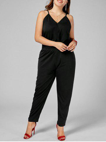 Shop Plus Size Cami Jumpsuit BLACK 6XL