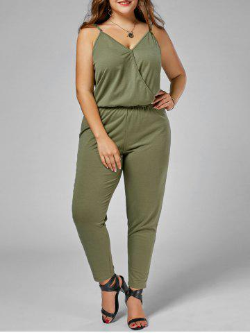 Cheap Plus Size Cami Jumpsuit - 2XL ARMY GREEN Mobile