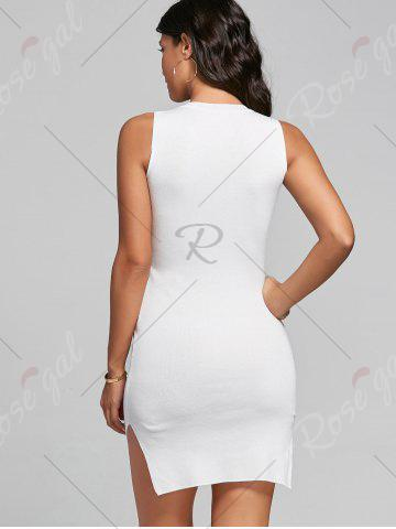 Best Slit Knit Mini Bodycon Dress - ONE SIZE WHITE Mobile