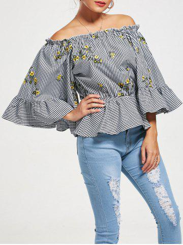 Off The Shoulder Flared Sleeve Peplum Top - Colormix - Xl