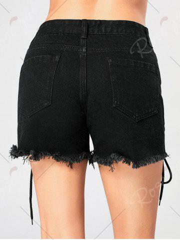 Hot Criss Cross Lace Up Frayed Jean Shorts - M BLACK Mobile