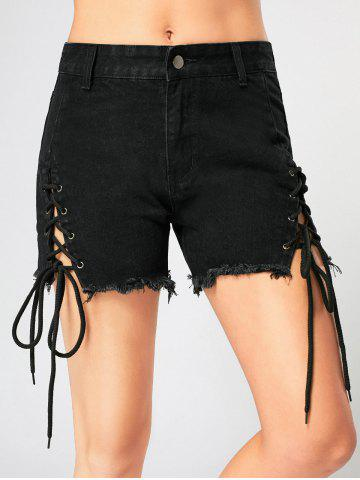 Hot Criss Cross Lace Up Frayed Jean Shorts - L BLACK Mobile
