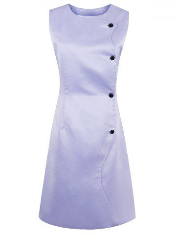 Button Up Sleeveless A Line Dress - Lavender Frost - L