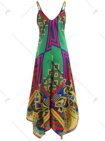 Trendy Asymmetrical Printed Cami Palazzo Jumpsuit - S COLORMIX Mobile