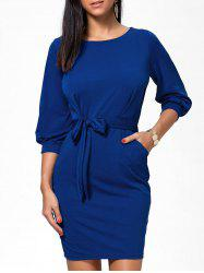 Belted Short Skin Tight Sheath Work Dress -