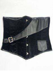 Faux Leather Insert Velvet Waist Corset
