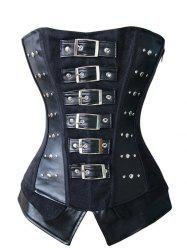 Pin Buckle Faux Leather Corset Top
