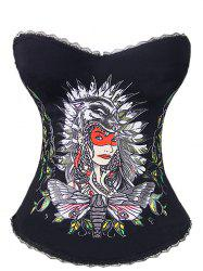 Tribal Print Steel Boned Corset Top