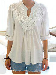 Half Sleeve Floral Lace Panel Blouse - WHITE